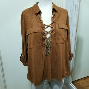 Umgee Lace Up Faux Suede Chest Pocket Shirt Brown